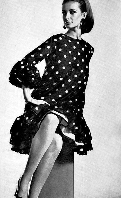 Yves Saint Laurent    Model is wearing a creation of Yves Saint Laurent.  Revue Magazine,Collections Autumn / Winter 1967.