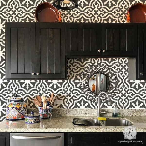Toledo Tile Stencil  Custom Kitchens Wall Stenciling And Kitchen Cool Kitchen Stencil Designs Review