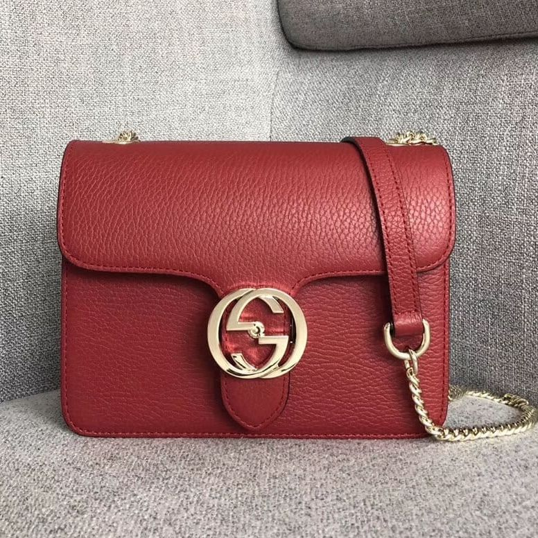 8f4119764bc8 Gucci GG Leather Small Shoulder Bag 510304 Red 2018