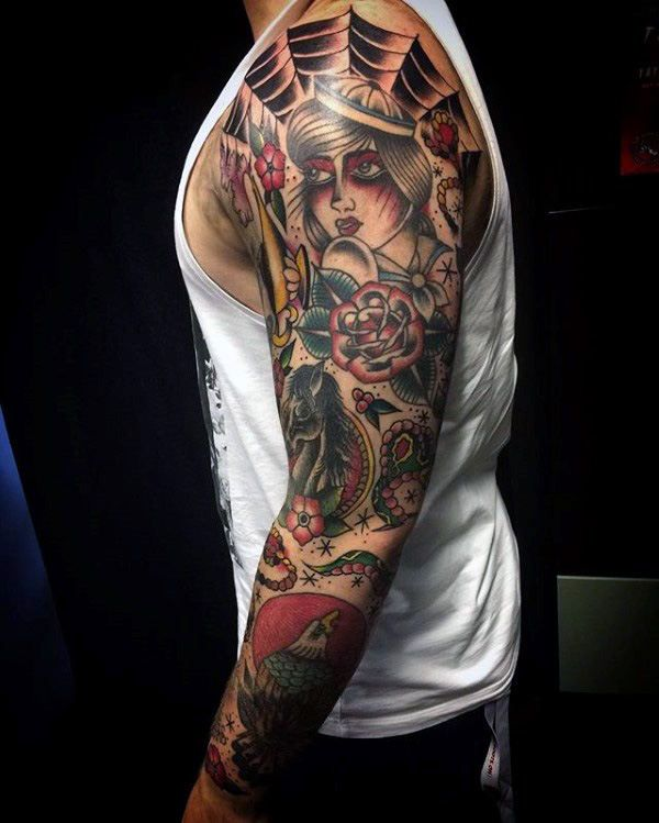 Top 59 Traditional Tattoo Sleeve Ideas 2020 Inspiration Guide Traditional Tattoo Sleeve Traditional Tattoo Sleeve Tattoos For Women