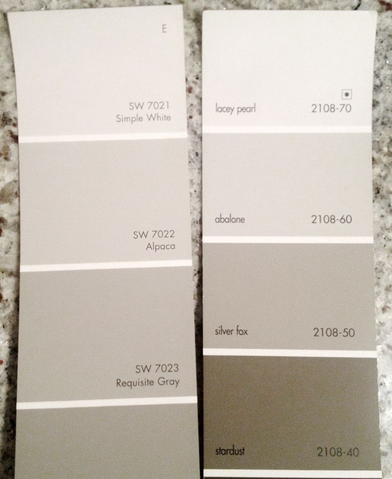 Replace benjamin moore abalone with alpaca from sherwin for Color gray or grey