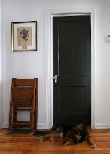 Image result for black interior doors with off white trim Interior