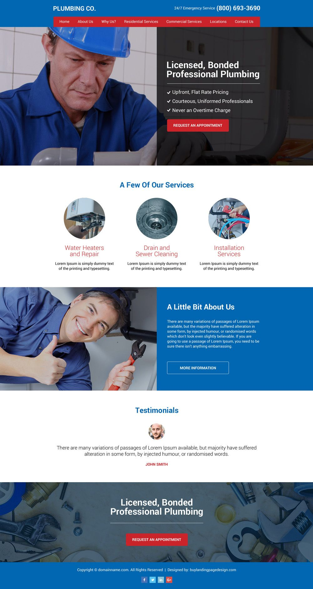 Plumbing Services Professional And Clean Website Design Website Design Plumbing Companies Web Design