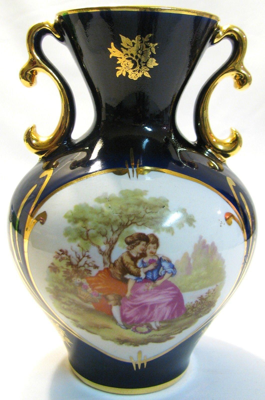 Details About Courting Couple Vase Porcelain Cobalt Blue