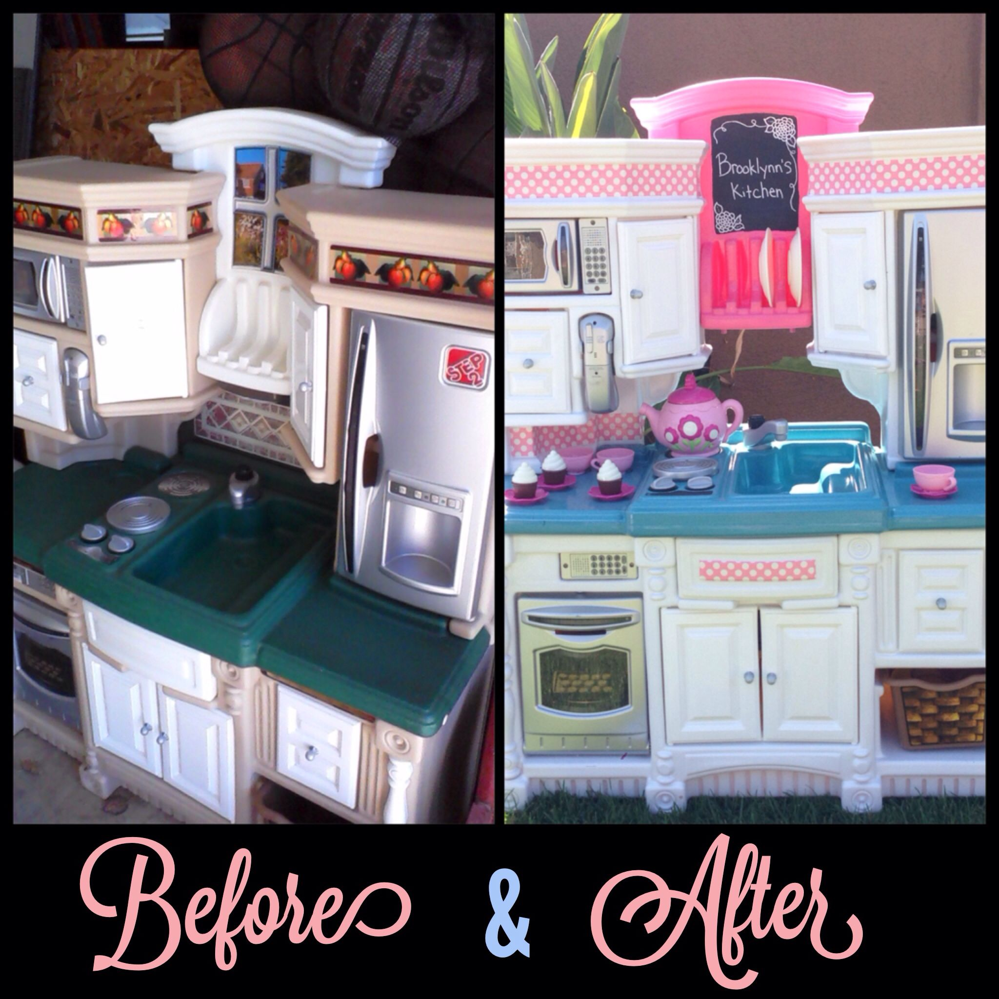 Fisher price kitchen makeover i used valspar spray paint for Spray paint makeovers