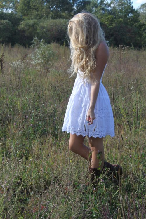 Blonde Field Country White Dress Cowboy Boots Long Grass Cream Shabby Chic White Dress Summer Summer Dresses Dresses With Cowboy Boots