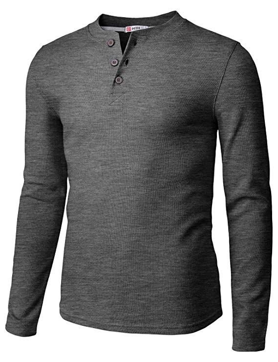 02ff5587fc69 Amazon.com: H2H Mens Casual Slim Fit Long Sleeve Henley T Shirts of Waffle  Cotton: Clothing