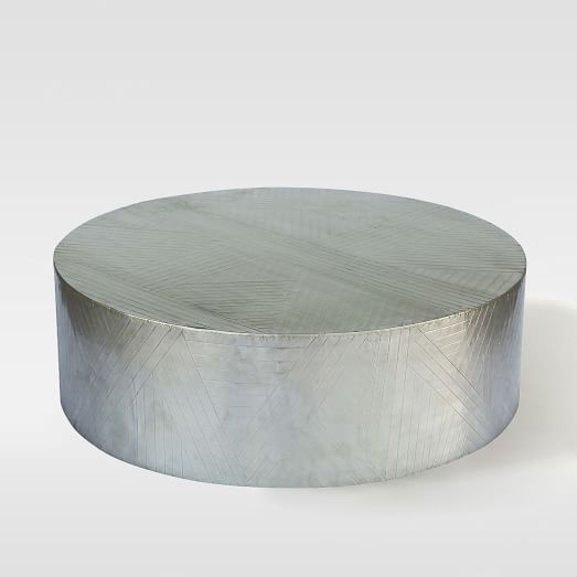 West Elm - Metal Etched Coffee Table, Silver 35.5