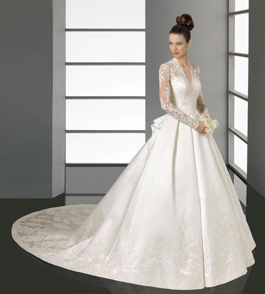 Online Shopping V Neck Lace Top Long Sleeves Wedding Dress With