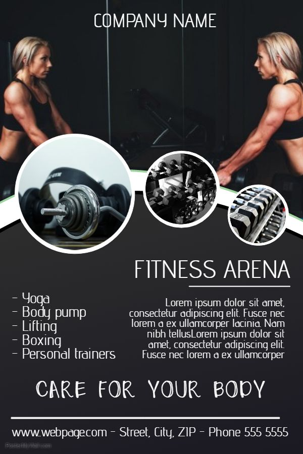 Fitness Gym Advertisement Poster Template Workout