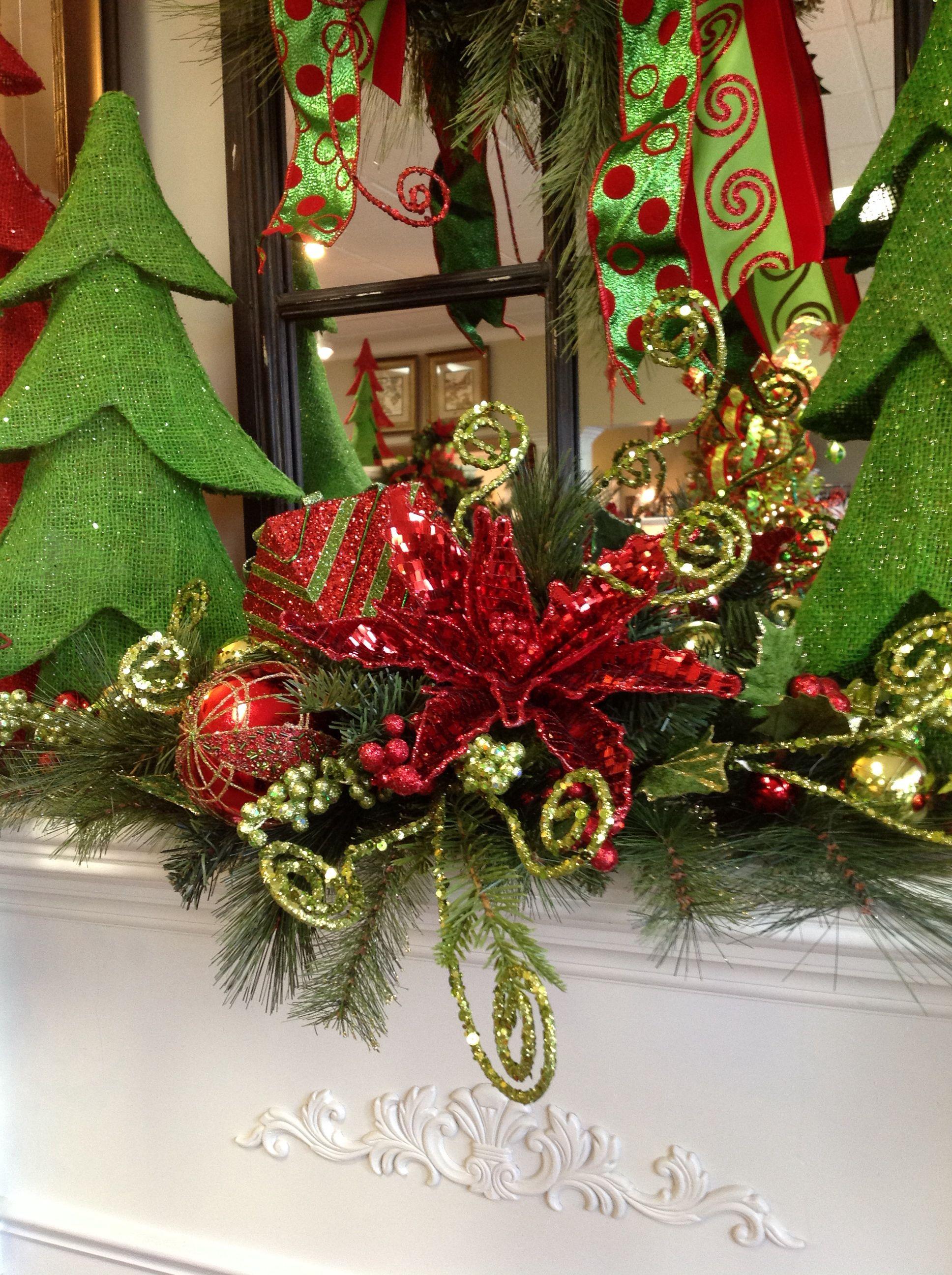 Mantel floral arrangement christmas decorating and