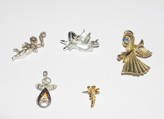 Vintage Jewelry Lot of 5 Angels Pendants and by EASTandWESTJewelry