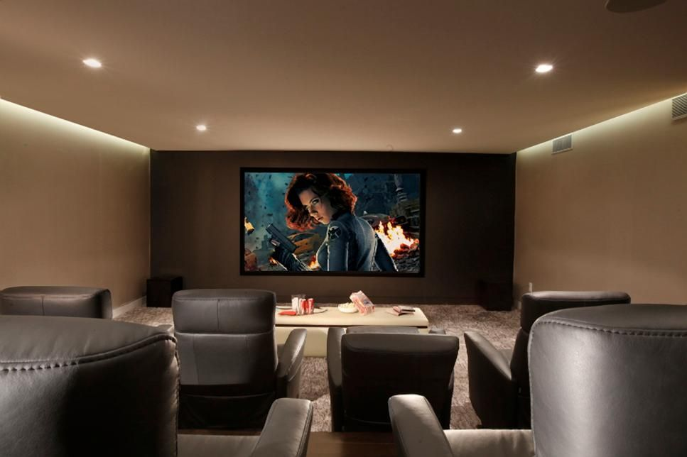 Posh Gray Leather Recliners Equipped With Mini Tables Snacks Welcome Make This Home Theater The Ultimate Movie Night Experience