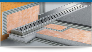 Schluter Shower Syste Countertops And Kitchen Backsplashes These Schluter Products Are A Combination Of The Integrated Schluter F Schluter Shower Shower Systems Linear Drain