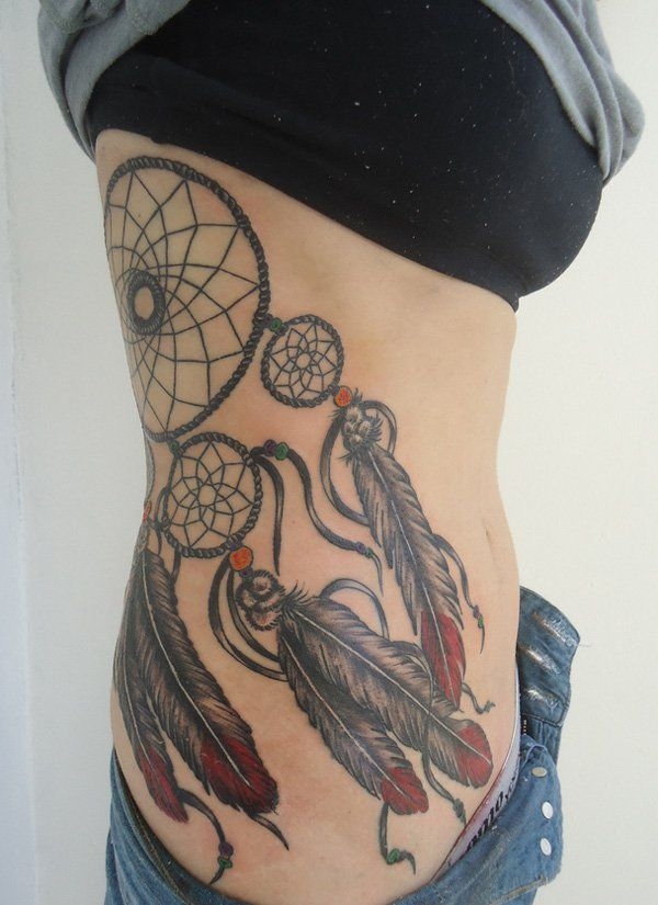 Dream Catcher Tattoo On Rib Cage 40 Dreamcatcher Tattoo Designs for Women Tattoo ribs 37