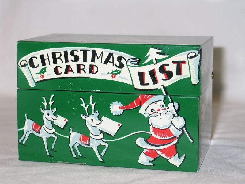 Madeline S Memories Vintage Christmas Cards: Vintage 1950's Stylecraft Tin Christmas Card List Holder
