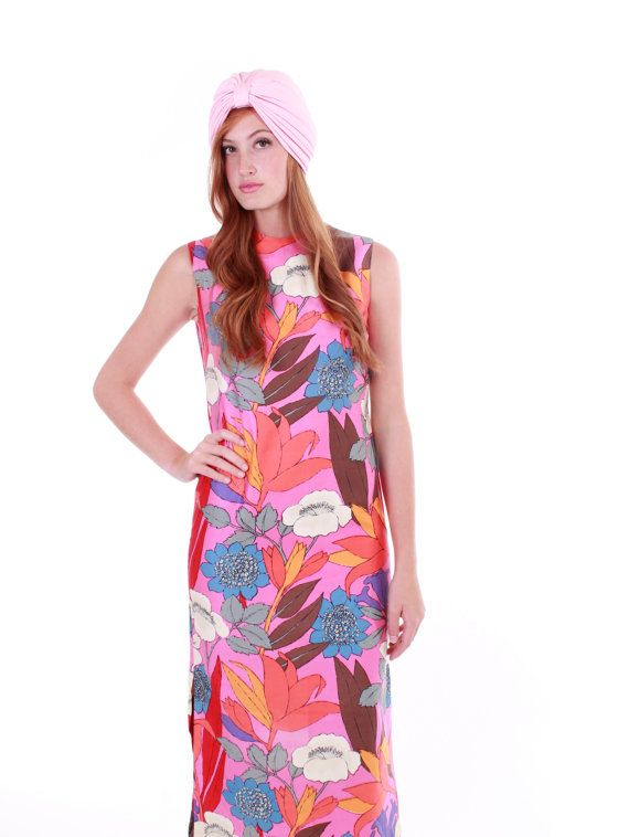 96837f83b401 60s Vintage Tori Richard Honolulu Maxi Dress Pink Pastel Floral Leaf ...