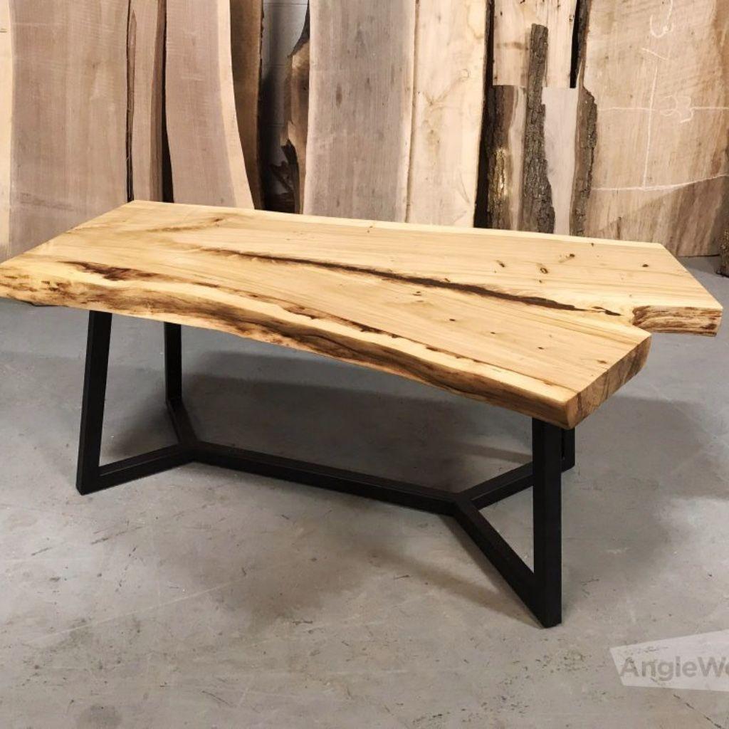 Elm Live Edge Coffee Table With Y Legs Anglewood Live Edge Custom Furniture Toronto Live Edge Coffee Table Coffee Table Table