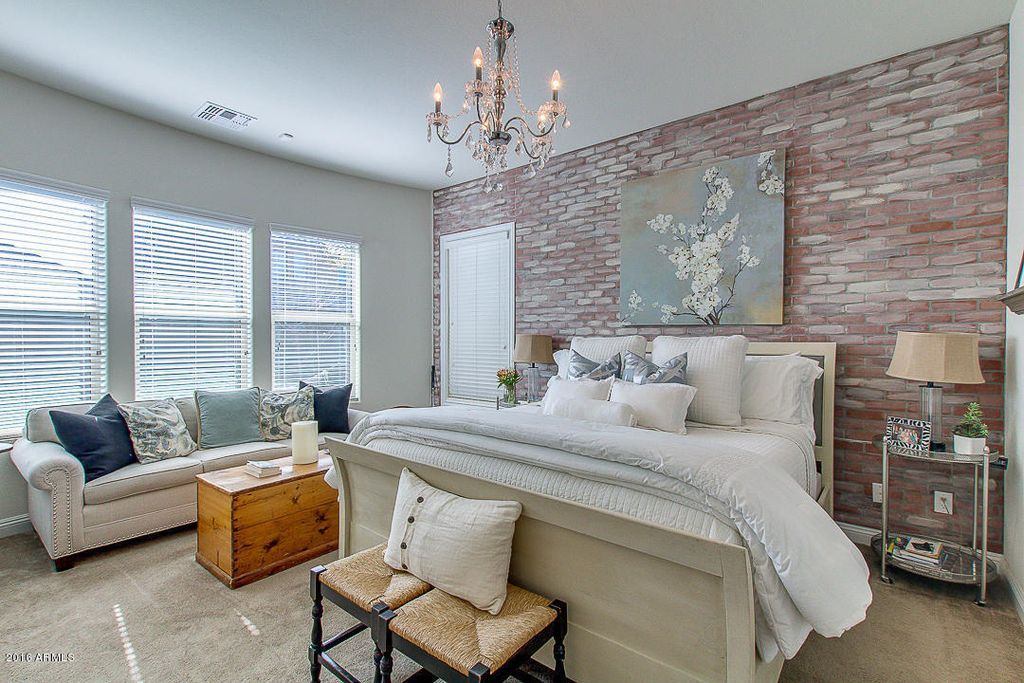 Best Traditional Master Bedroom With Loft Red Brick Wallpaper 400 x 300