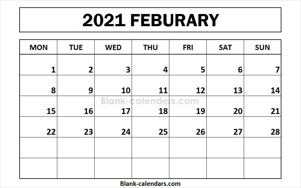 Printable February 2021 Calendar Monday Start 2021 Calendar Calendar 2020 Calendar Template