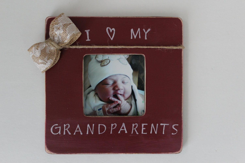 Grandparents Picture Frame, I Love My Grandparents Frame, Burgundy ...