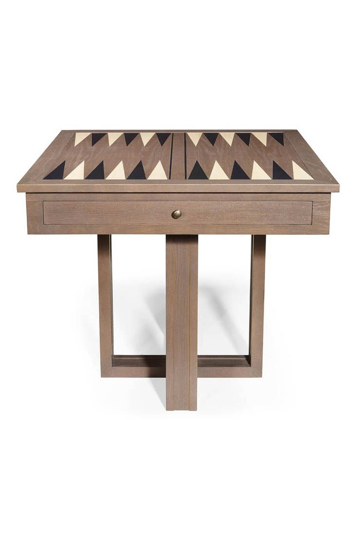 Brun Is A Square Game Table Shown In Oak Wood With A Grey Finish. It
