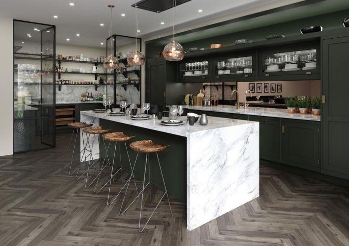 Cuisine Moderne Bois Agencement Cuisine Avec Ilot Central En Vert