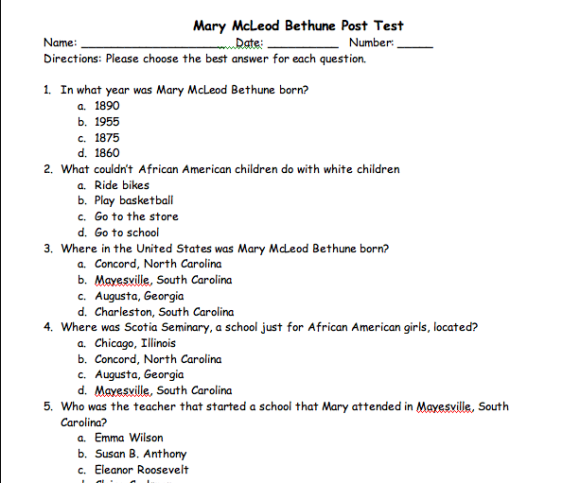 Mary mcleod bethune is coming up soon mary mcleod bethune mary mcleod bethune assessment packet free sciox Image collections