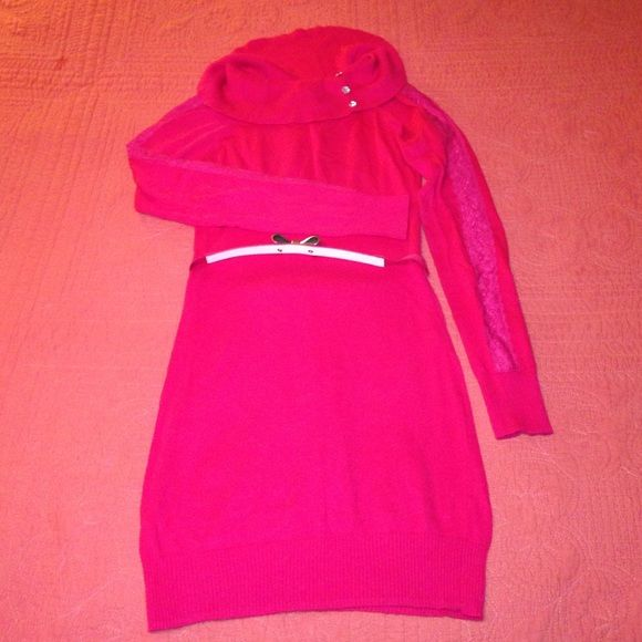 Hot pink! Hot pink cowl neck sweater dress. Lace trim down both ...