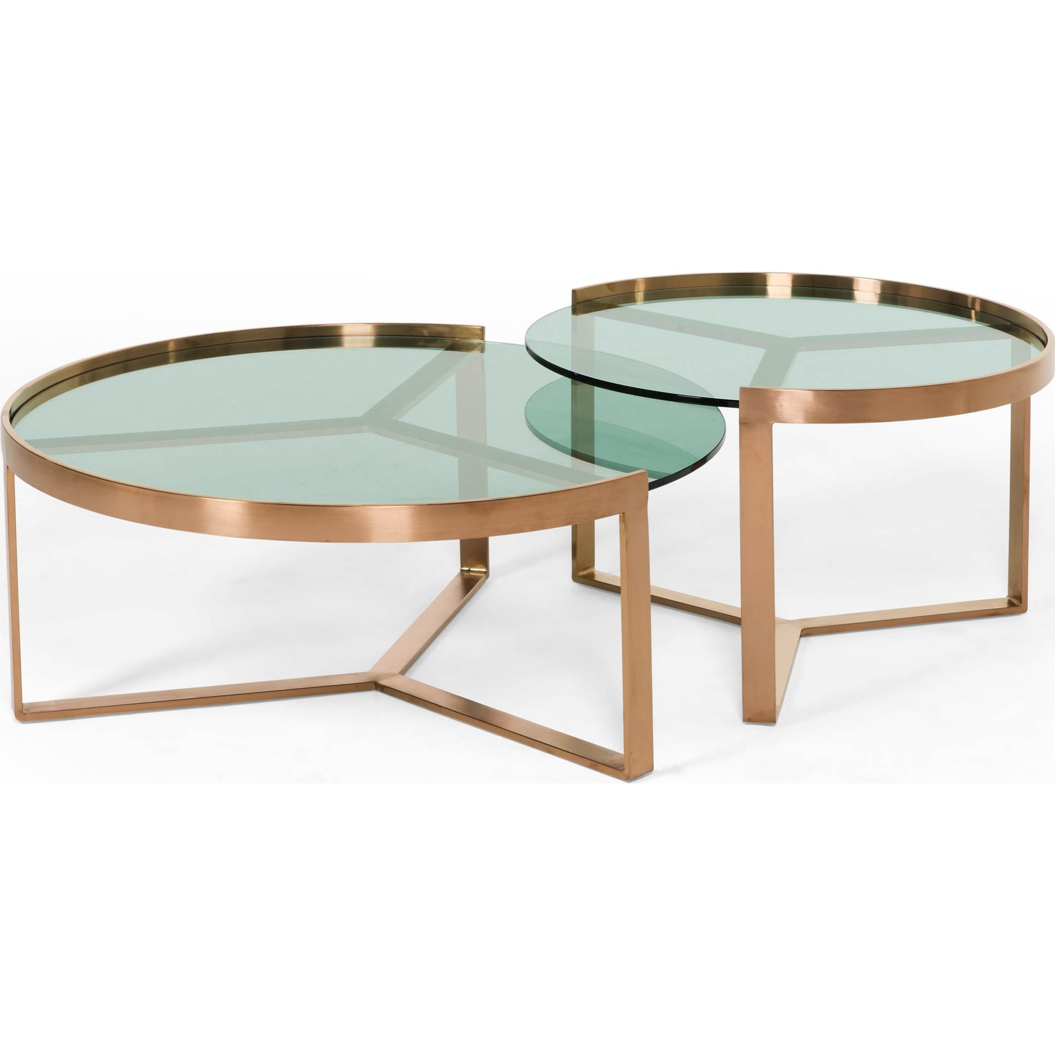 Aula Nesting Coffee Table Copper And Green Glass 35 X 90cm