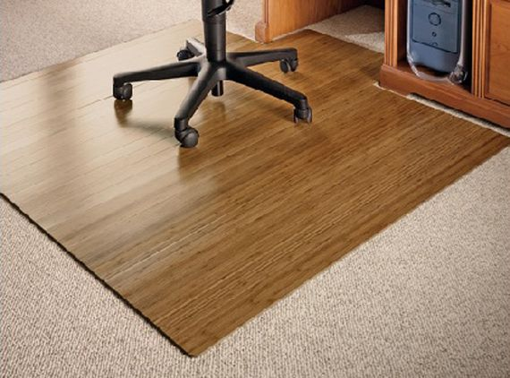 A Great Substitute For Those Tacky Plastic Office Floor Mats Bamboo Works As A Green Alternative Because It S A Office Chair Mat Bamboo Chair Bamboo Flooring