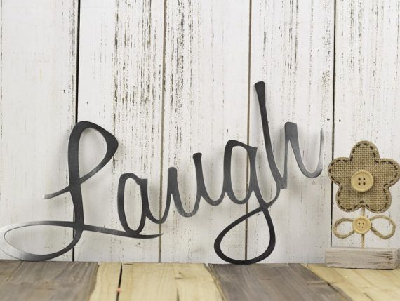 Live laugh love wall decor patio decor lake house decor metal wall art wall hanging home decor sign metal art script