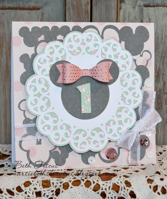 Beth's Beauties: Minnie Mouse 1st Birthday Card #svg #svgattic