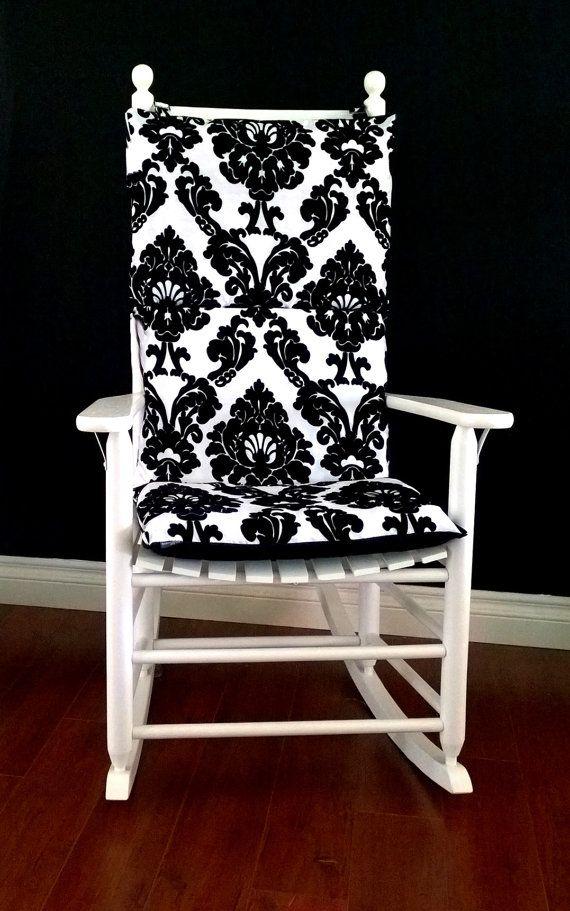rocking chair cushion cover dior black white flocked damask ready