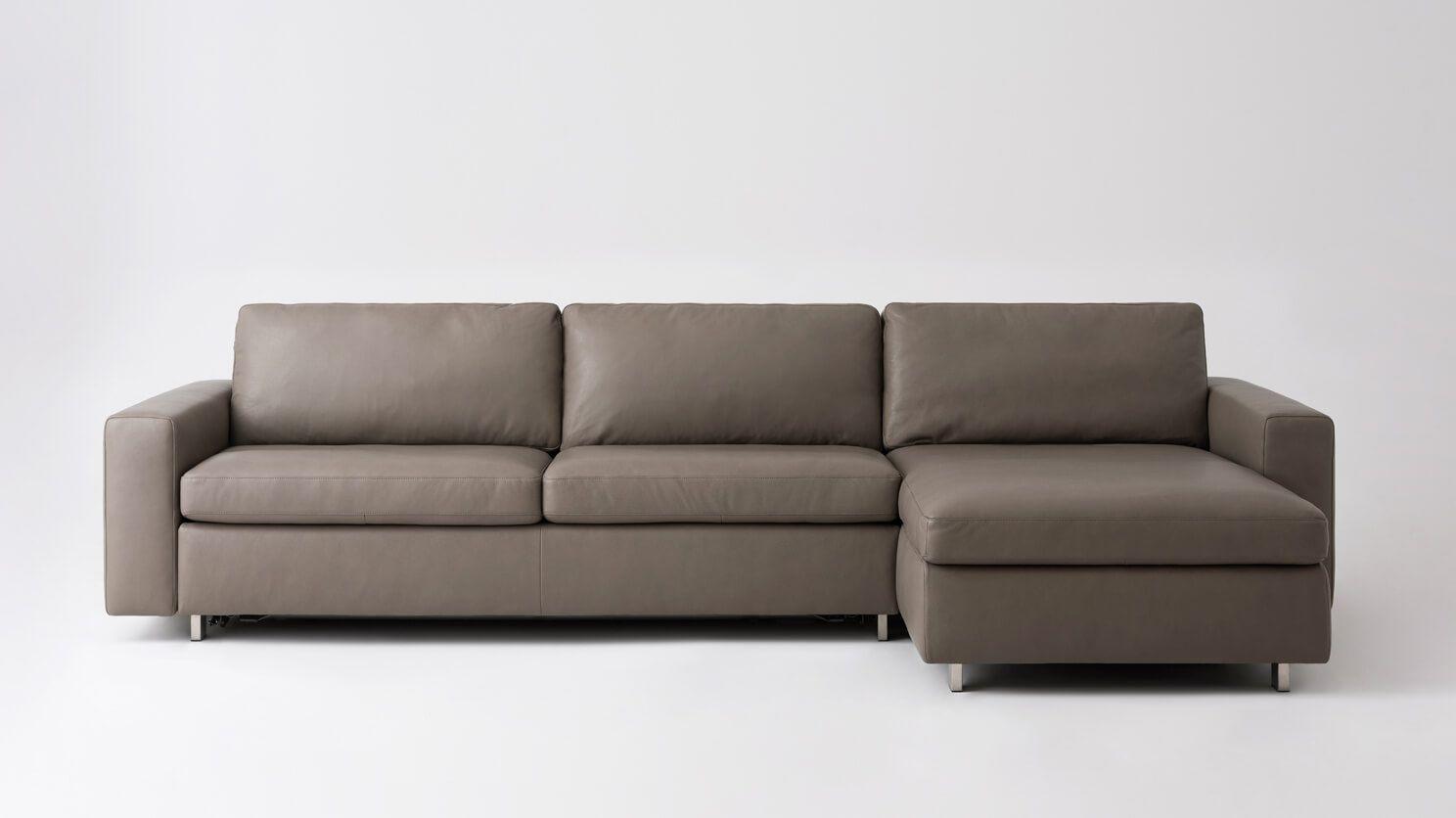 Reva 2 Piece Sectional Sleeper Sofa With Storage Chaise Leather Eq3 Sectional Sleeper Sofa Sleeper Sofa Queen Sofa Sleeper