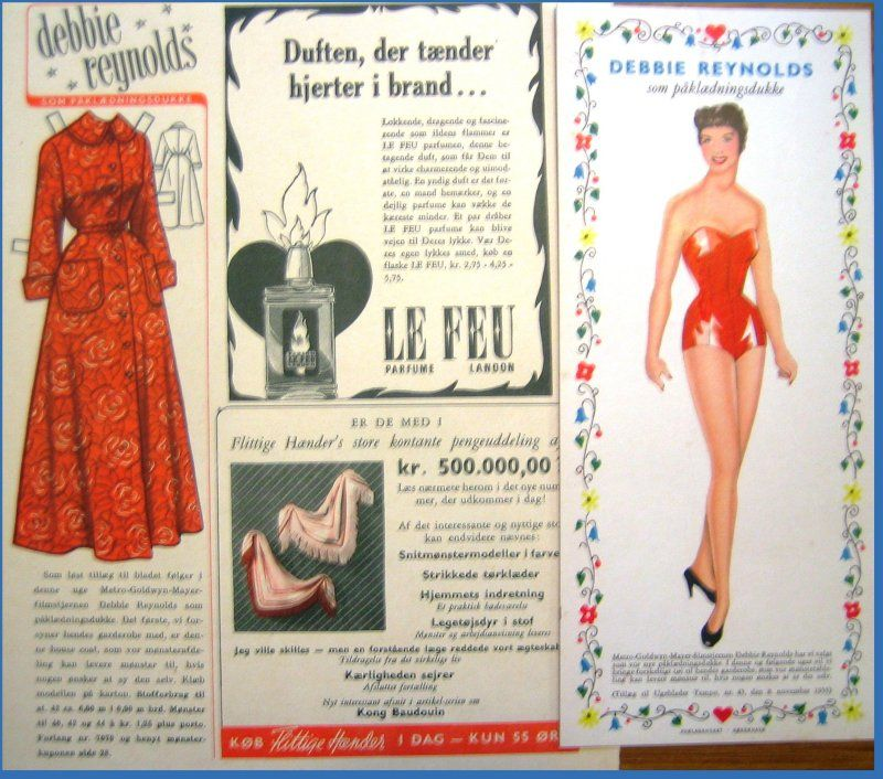 """Newspaper series of clothes for Debbie Reynolds paper doll.  Use """"Visit"""" to see all."""