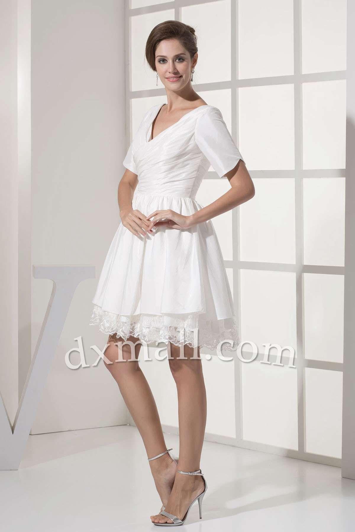 Mini white wedding dress  Ball Gown Winter Formal Dresses Vneck ShortMini Taffeta Chocolate