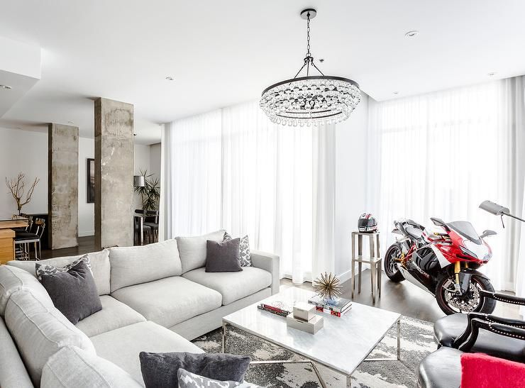 Small And Large Bling Chandelier In Kitchen Space