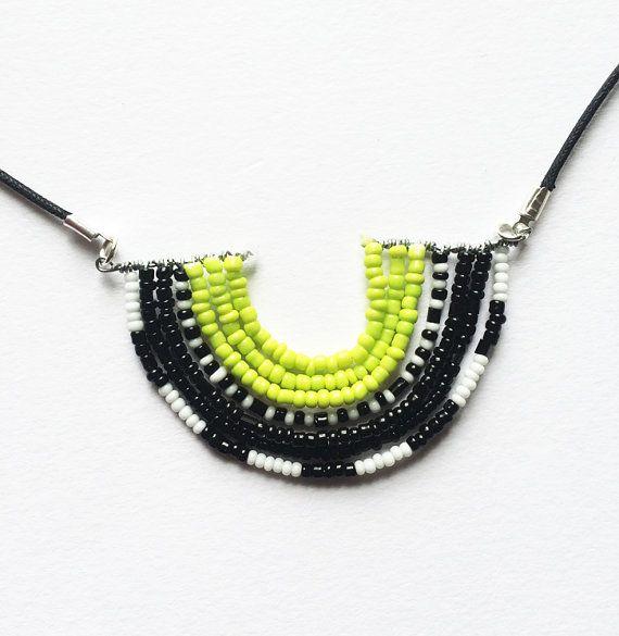 Neon tribal beaded crescent pendant necklace masai inspired neon tribal beaded crescent pendant necklace masai inspired handmade jewelry etsy handmade aloadofball Gallery