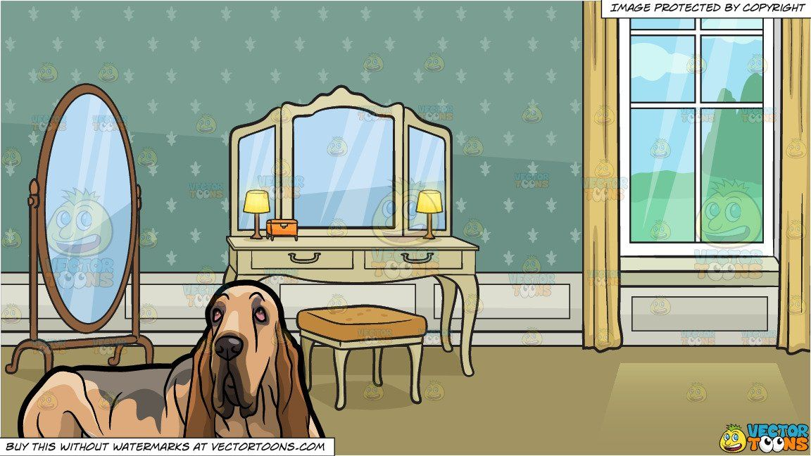 A Tired Bloodhound Pet Dog And A Dressing Table In A Grand Bedroom