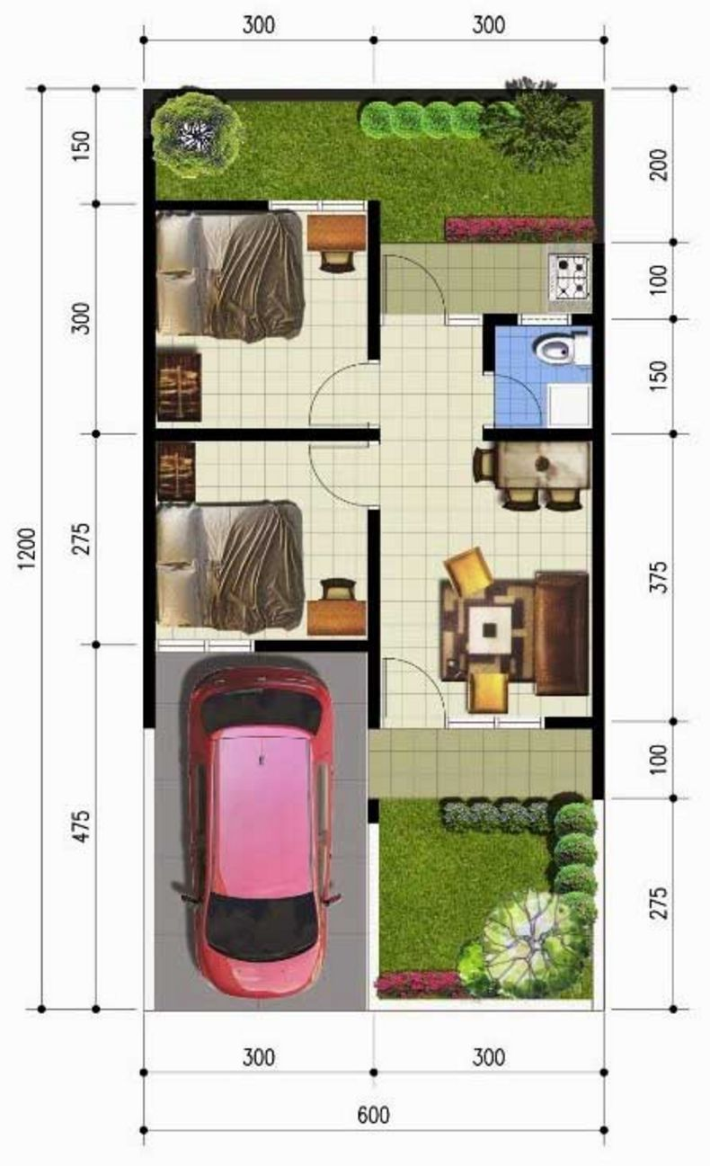 Denah Rumah Sederhana 6x12 Meter KPR Minimalis Planos De Casas Di