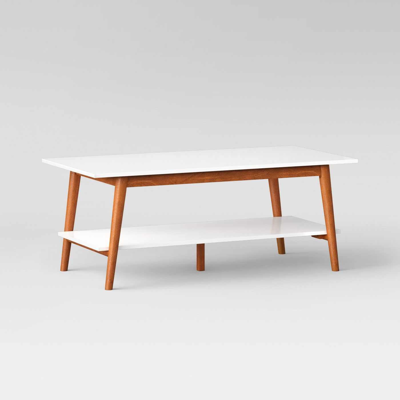 Amherst Mid Century Modern Two Tone Coffee Table White Brown