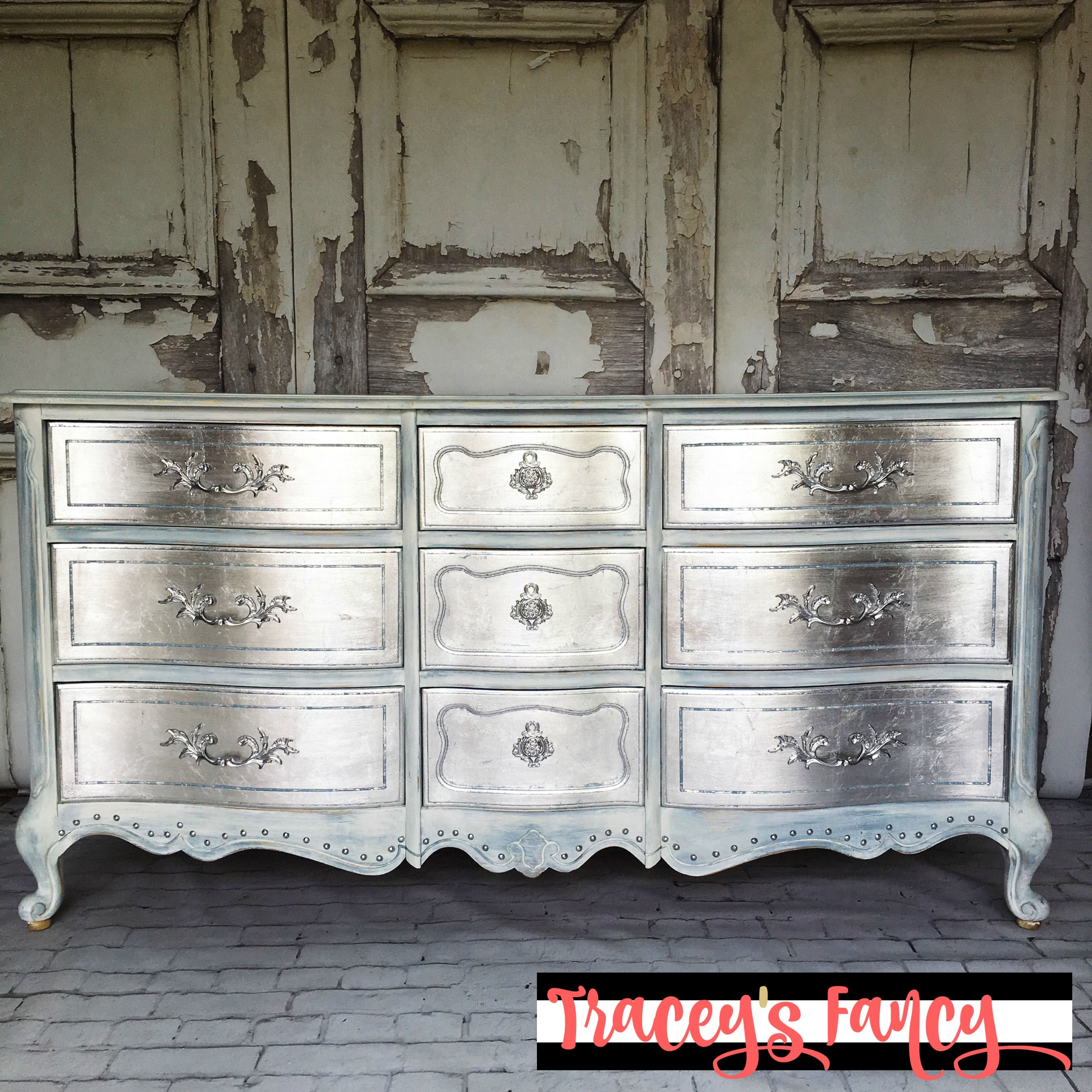 My Glamorous Metallic Silver Dresser Tracey S Fancy Silver Furniture Painted Furniture Metallic Painted Furniture