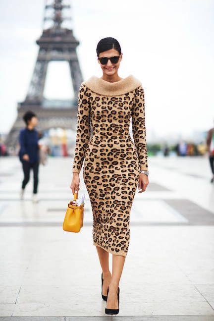 Modest & Chic: leopard print dress in paris    Best Street Style of 2013 - Best Street Style Shots of 2013 - ELLE