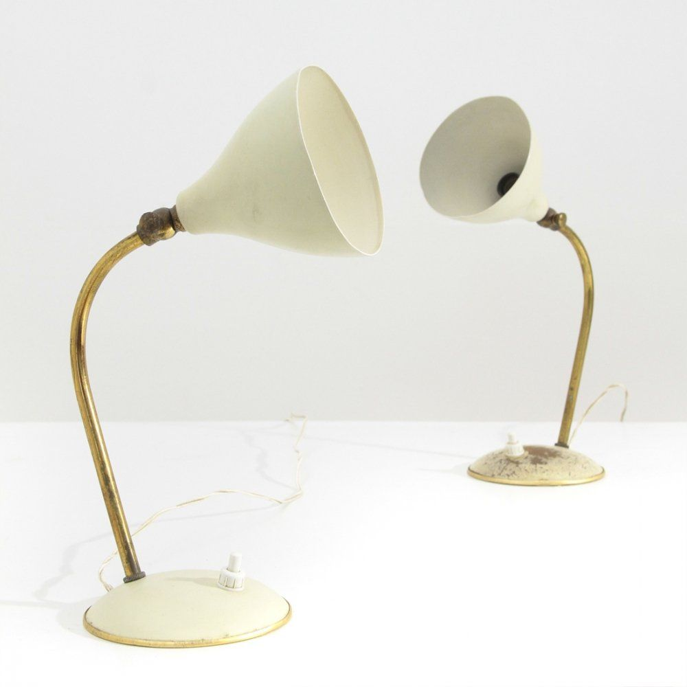 For Sale Pair Of Midcentury Brass White Aluminium Table Lamp 1940s Table Lamp Aluminum Table Lamp