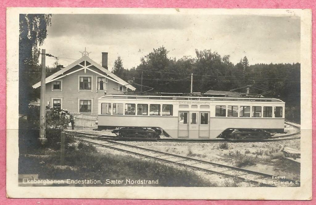 Oslo, Ekebergbanen ved endestasjonen Sæter, Nordstrand. 1920-tallet. Trikk sporvogn Foto: Küenholdt