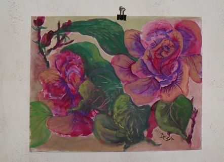 Red Rose floral  Painting by Georgi  Anniversauy