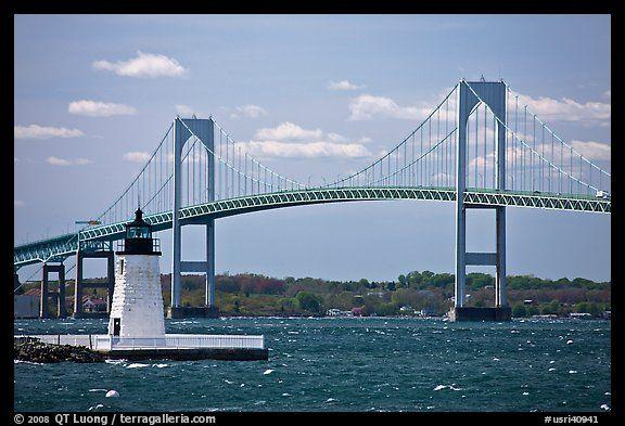 Newport Harbor lighthouse, Newport Bridge, and Narragansett Bay. Newport, Rhode Island, USA