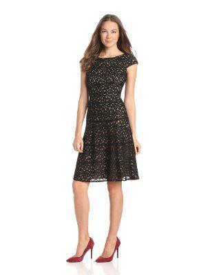 Anne Klein Women's Petite Ribbon Lace Swing Dress:Amazon:Clothing