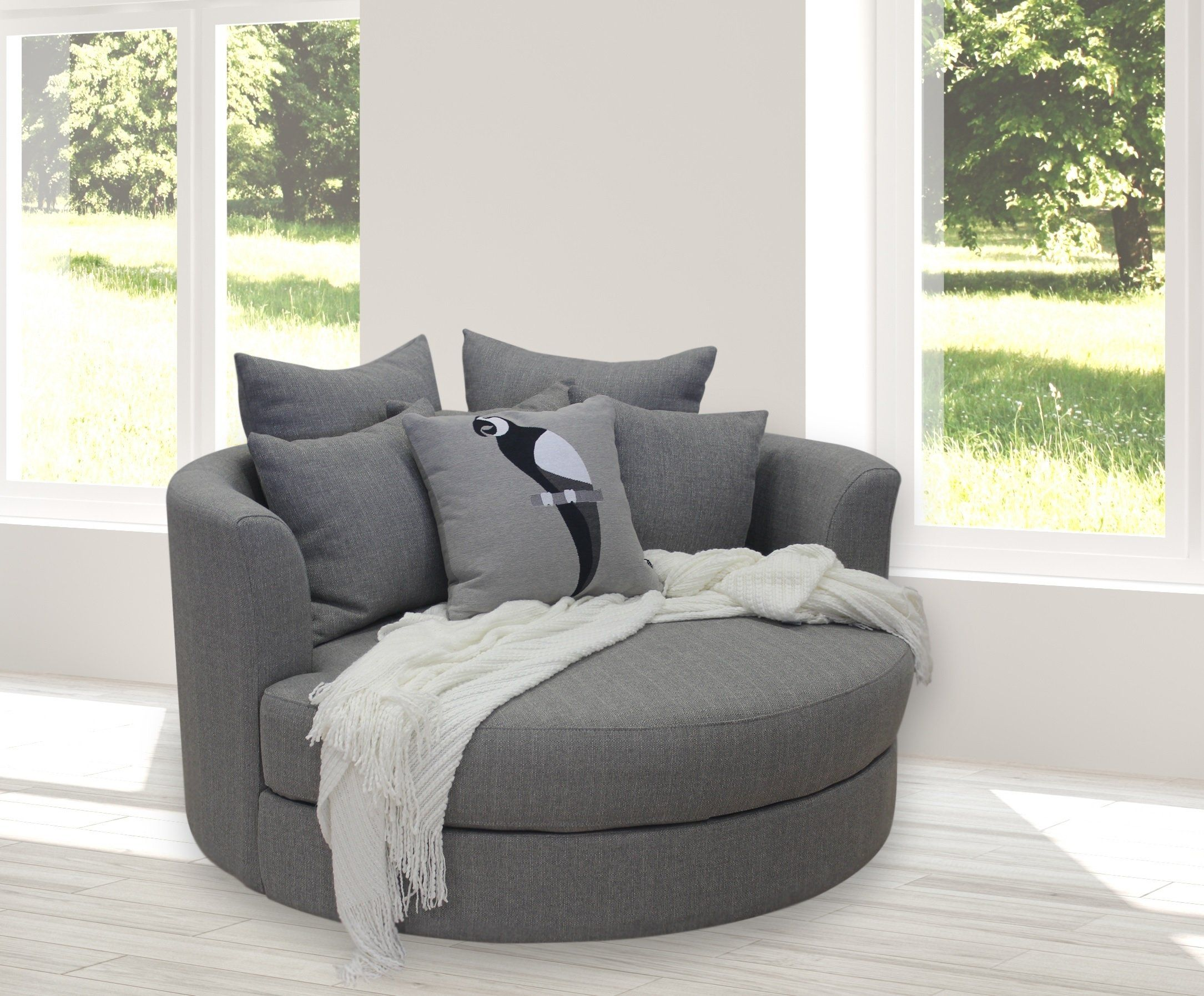 Cuddler large swivel accent chair in sky grey Our